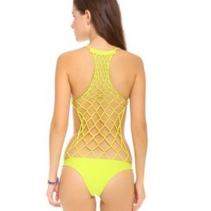 Mikoh xavier caged back one piece swimsuit lime